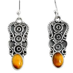 3.51cts natural brown tiger's eye 925 sterling silver dangle earrings r13839