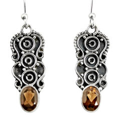 925 sterling silver 3.32cts brown smoky topaz dangle earrings jewelry r13840
