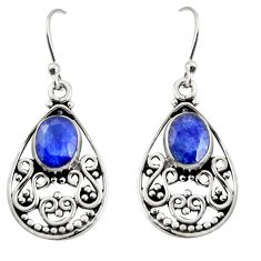 4.47cts natural blue sapphire 925 sterling silver dangle earrings jewelry r13841