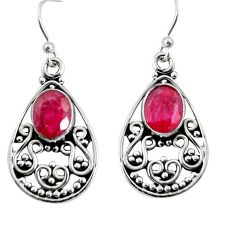 4.30cts natural red ruby 925 sterling silver dangle earrings jewelry r13843