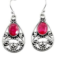 925 sterling silver 4.30cts natural red ruby dangle earrings jewelry r13844
