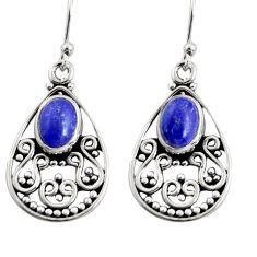 925 sterling silver 4.52cts natural blue lapis lazuli dangle earrings r13847