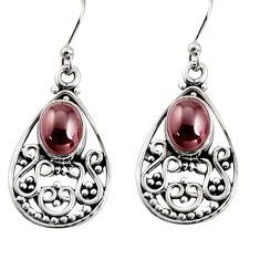 925 sterling silver 4.52cts natural red garnet dangle earrings jewelry r13850