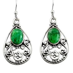 4.52cts natural green emerald 925 sterling silver dangle earrings jewelry r13852