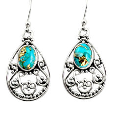 4.30cts blue copper turquoise 925 sterling silver dangle earrings jewelry r13854