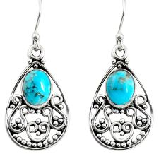 4.07cts blue arizona mohave turquoise 925 sterling silver dangle earrings r13855