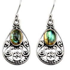 4.74cts natural blue labradorite 925 sterling silver dangle earrings r13858