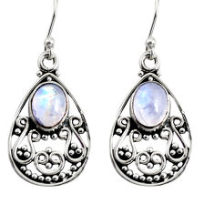 4.29cts natural rainbow moonstone 925 sterling silver dangle earrings r13859