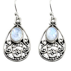 925 sterling silver 4.51cts natural rainbow moonstone dangle earrings r13860