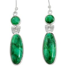 15.89cts natural green emerald 925 sterling silver dangle earrings r13866