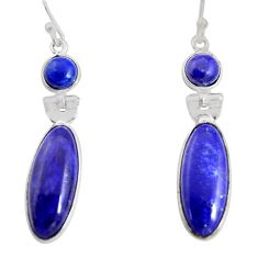 925 sterling silver 13.60cts natural blue sapphire dangle earrings r13867