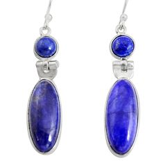 15.89cts natural blue sapphire 925 sterling silver dangle earrings r13868