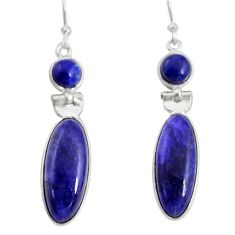 16.44cts natural blue sapphire 925 sterling silver dangle earrings r13869