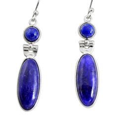 925 sterling silver 14.56cts natural blue sapphire dangle earrings r13870