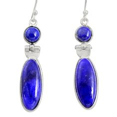 14.18cts natural blue sapphire 925 sterling silver dangle earrings r13871