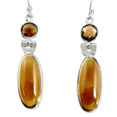 15.28cts brown smoky topaz 925 sterling silver dangle earrings jewelry r13872