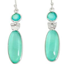 14.59cts natural aqua chalcedony 925 sterling silver dangle earrings r13874