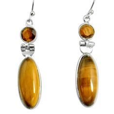 14.59cts natural brown tiger's eye 925 sterling silver dangle earrings r13875