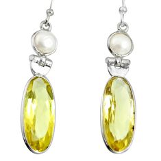 925 sterling silver 14.18cts natural lemon topaz pearl dangle earrings r13877