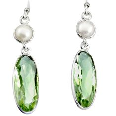 12.99cts natural green amethyst pearl 925 sterling silver dangle earrings r13878