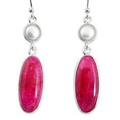 13.60cts natural red ruby pearl 925 sterling silver dangle earrings r13882