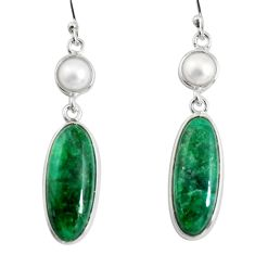 14.18cts natural green emerald pearl 925 sterling silver dangle earrings r13883