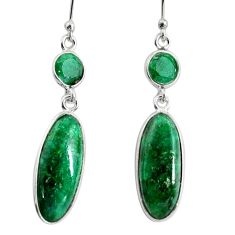 925 sterling silver 12.35cts natural green emerald dangle earrings r13884