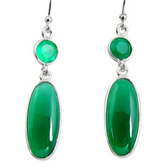 12.99cts natural green chalcedony 925 sterling silver dangle earrings r13886