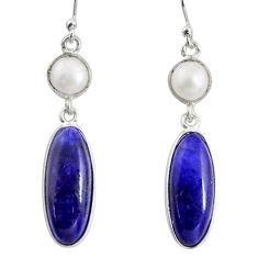 14.06cts natural blue sapphire white pearl 925 silver dangle earrings r13888