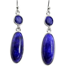 14.59cts natural blue sapphire 925 sterling silver dangle earrings r13889
