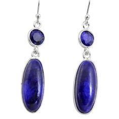 14.56cts natural blue sapphire 925 sterling silver dangle earrings r13890