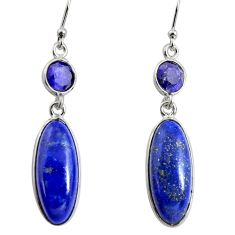 925 sterling silver 14.12cts natural blue sapphire dangle earrings r13891