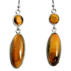 13.60cts natural brown tiger's eye 925 sterling silver dangle earrings r13892