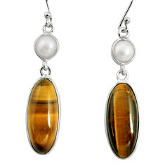 14.59cts natural brown tiger's eye pearl 925 silver dangle earrings r13893