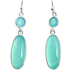 925 sterling silver 14.18cts natural aqua chalcedony dangle earrings r13894