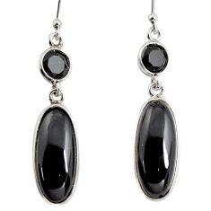 12.96cts natural black onyx 925 sterling silver dangle earrings jewelry r13895