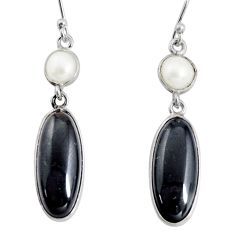 925 sterling silver 12.99cts natural black onyx pearl dangle earrings r13900