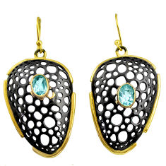 3.16cts rhodium natural blue topaz 925 silver 14k gold dangle earrings r14169