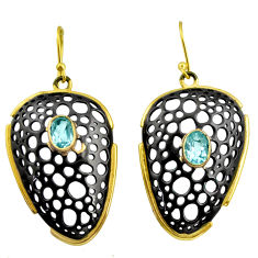 3.24cts rhodium natural blue topaz 925 silver 14k gold dangle earrings r14171