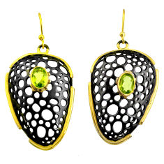 3.17cts black rhodium natural green peridot 925 silver 14k gold earrings r14179