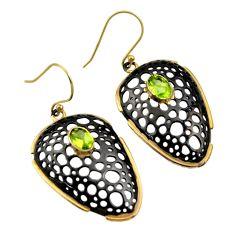 3.16cts black rhodium natural green peridot 925 silver 14k gold earrings r14441