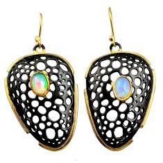 3.31cts black rhodium natural ethiopian opal 925 silver 14k gold earrings r14463