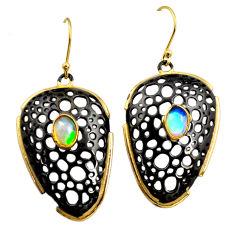 3.11cts black rhodium natural ethiopian opal 925 silver 14k gold earrings r14466