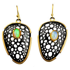 3.28cts black rhodium natural ethiopian opal 925 silver 14k gold earrings r14467