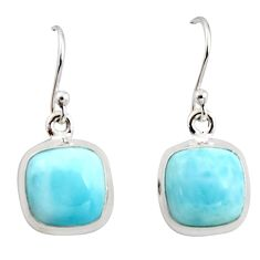 11.13cts natural blue larimar 925 sterling silver dangle earrings jewelry r14722