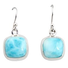 925 sterling silver 11.62cts natural blue larimar dangle earrings jewelry r14724