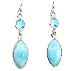 11.26cts natural blue larimar topaz 925 sterling silver dangle earrings r14727