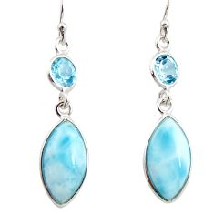 925 sterling silver 11.28cts natural blue larimar topaz dangle earrings r14728
