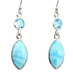 11.93cts natural blue larimar topaz 925 sterling silver dangle earrings r14730