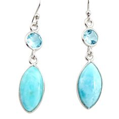 11.28cts natural blue larimar topaz 925 sterling silver dangle earrings r14731